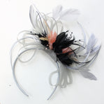 Caprilite Hoopmix - Silver Black and Peach fascinator on Headband