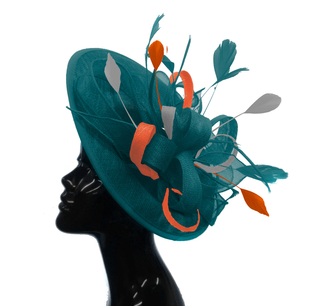Bespoke Teal orange and Silver Big Disc Fascinator Hatinator hat