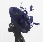 Caprilite Big Saucer Sinamay Navy Blue & Navy Blue Mixed Colour Fascinator On Headband
