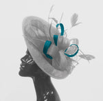 Caprilite Big Saucer Sinamay Silver Grey & Teal Mixed Colour Fascinator On Headband