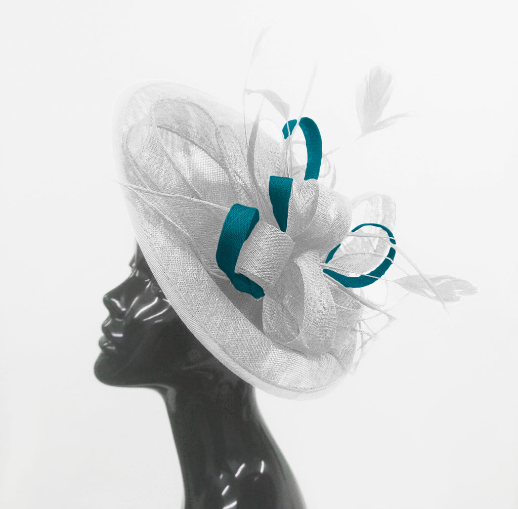 Caprilite Big Saucer Sinamay White & Teal Mixed Colour Fascinator On Headband