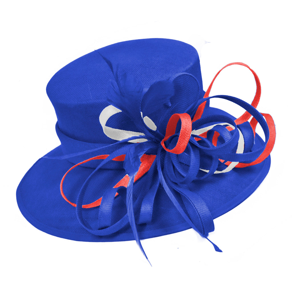 Union Jack Fascinator Blue Red White Large Queen Brim Hat Occasion Hatinator Weddings Formal