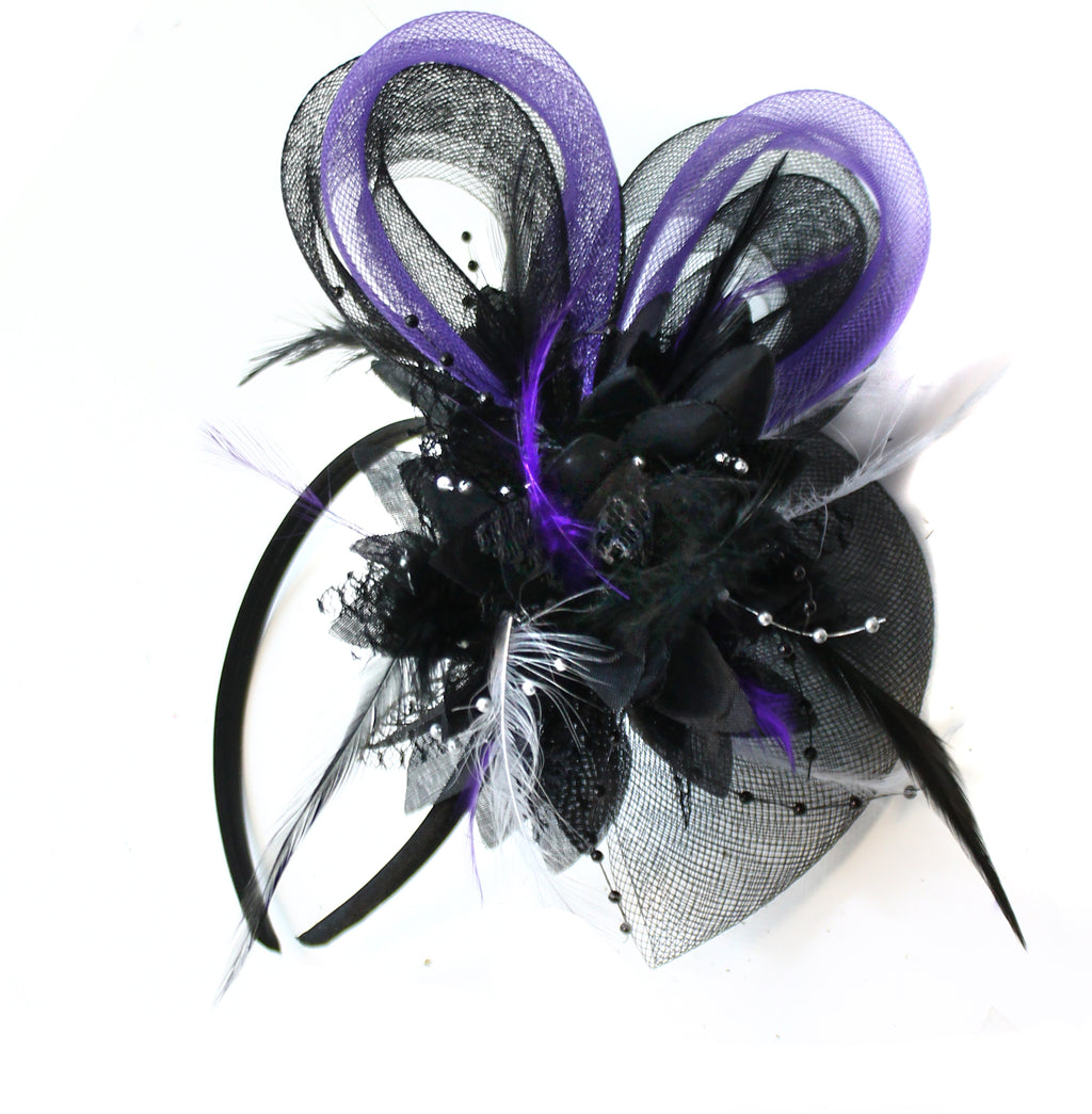 Black Purple Silver Bow Fascinator