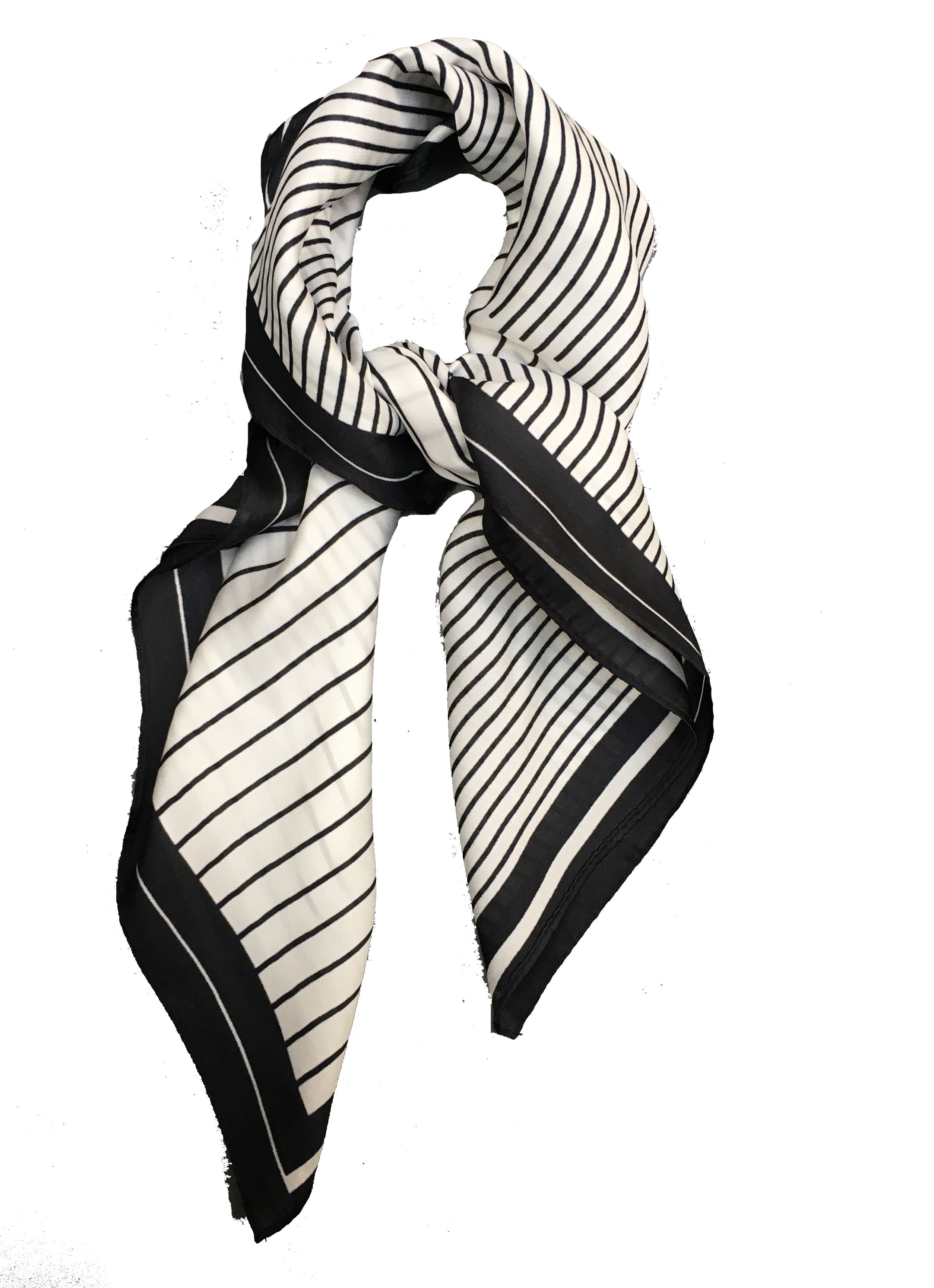 70cm x 70cm Square Scarf Black White Piano Stripes Scarf Thin Silky Womens Summer Spring