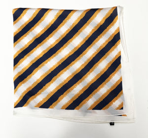 70cm x 70cm Square Scarf Cream Mustard Black Stripes Scarf Thin Silky Womens Summer Spring