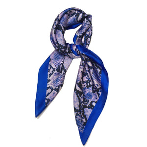 70cm x 70cm Square Scarf Blue Neon Snake Print Pattern Scarf Thin Silky Womens Summer Spring
