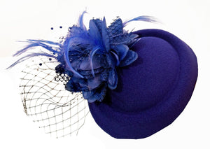 Cobalt Royal Blue Pillbox Fascinator with veil for weddings and ascot races caprilite uk online shop clip hat hatinator