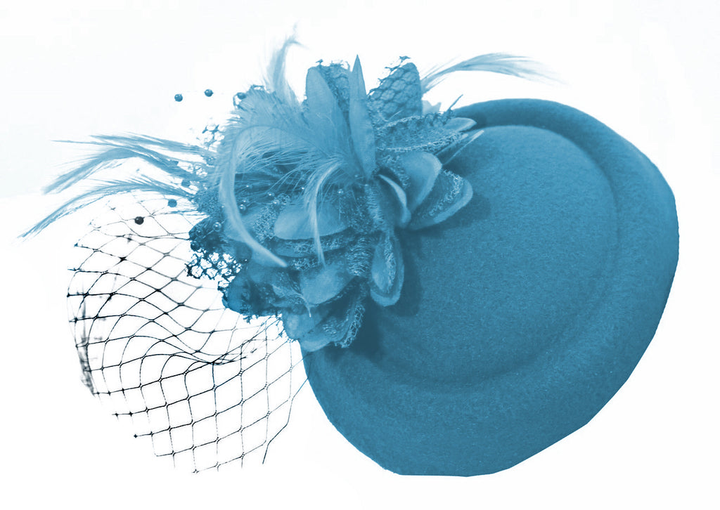 Aqua Blue Fascinator on pillbox wedding ascot party clip caprilite online shop uk