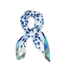 Royal Blue Hearts Scarf Thin Silky Womens Summer Spring
