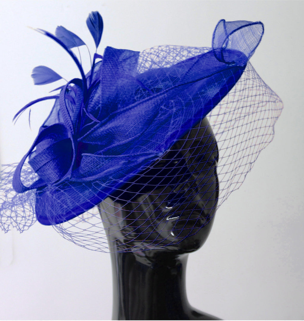 Caprilite Royal Blue Big Saucer Sinamay Birdcage Veil Fascinator On Headband Wedding Derby Ascot Races Ladies Hat