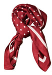Womens Burgundy and White Polka Dot Thin Silky Scarf for Summer and Spring