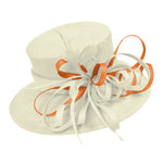 Cream Ivory and Apricot Orange Large Brim Queen Hat Occasion Hatinator Fascinator Weddings Formal