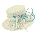 Cream Ivory and Light Blue Large Brim Queen Hat Occasion Hatinator Fascinator Weddings Formal
