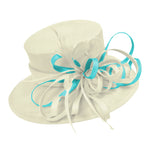 Cream Ivory and Aqua Blue Large Brim Queen Hat Occasion Hatinator Fascinator Weddings Formal