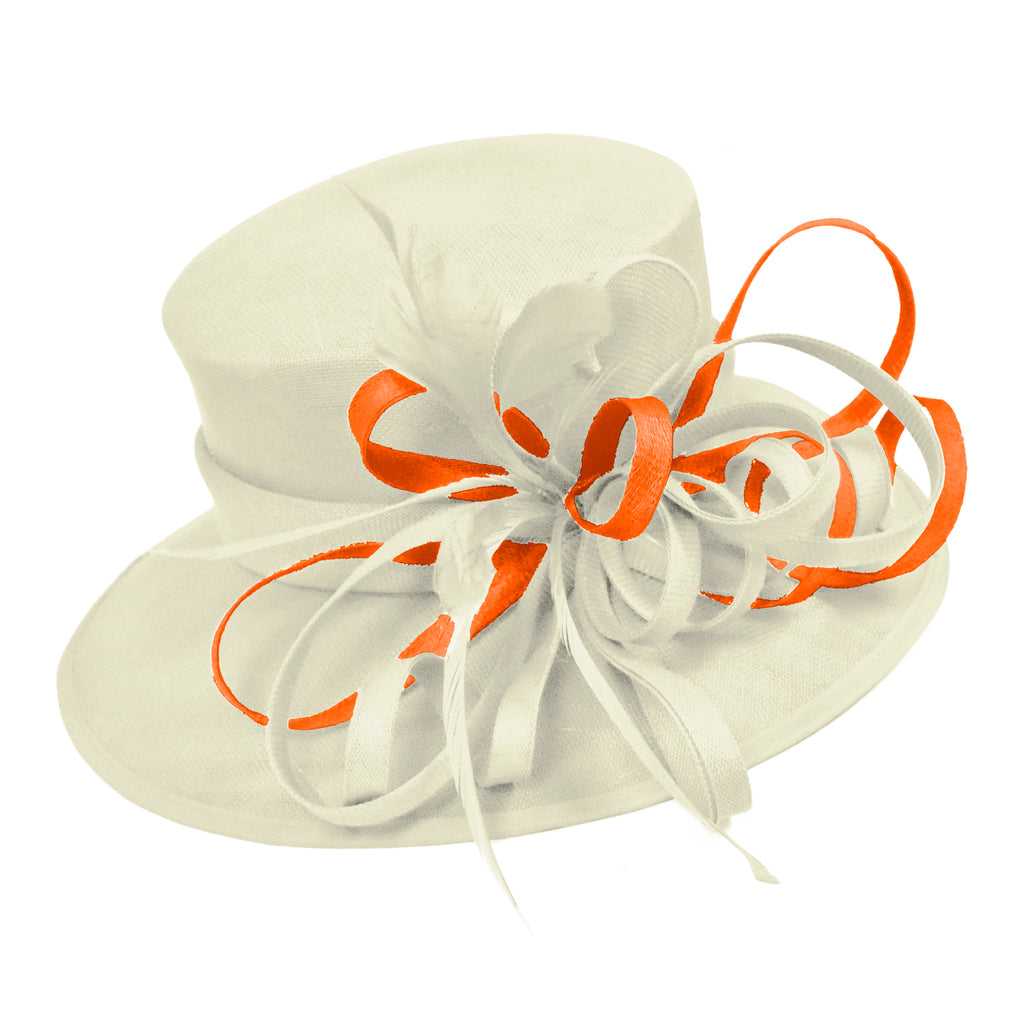Cream Ivory and Burnt Orange Large Brim Queen Hat Occasion Hatinator Fascinator Weddings Formal