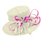 Cream Ivory and Fuchsia Hot Pink Large Brim Hat Occasion Hatinator Fascinator Weddings Formal