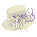 Cream Ivory and Lilac Purple Large Brim Queen Hat Occasion Hatinator Fascinator Weddings Formal