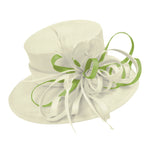 Cream Ivory and Lime Large Brim Hat Occasion Hatinator Fascinator Weddings Formal