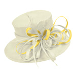 Cream Ivory and Yellow Large Brim Queen Hat Occasion Hatinator Fascinator Weddings Formal