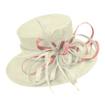 Cream Ivory and Dusty Pink Large Brim Hat Occasion Hatinator Fascinator Weddings Formal