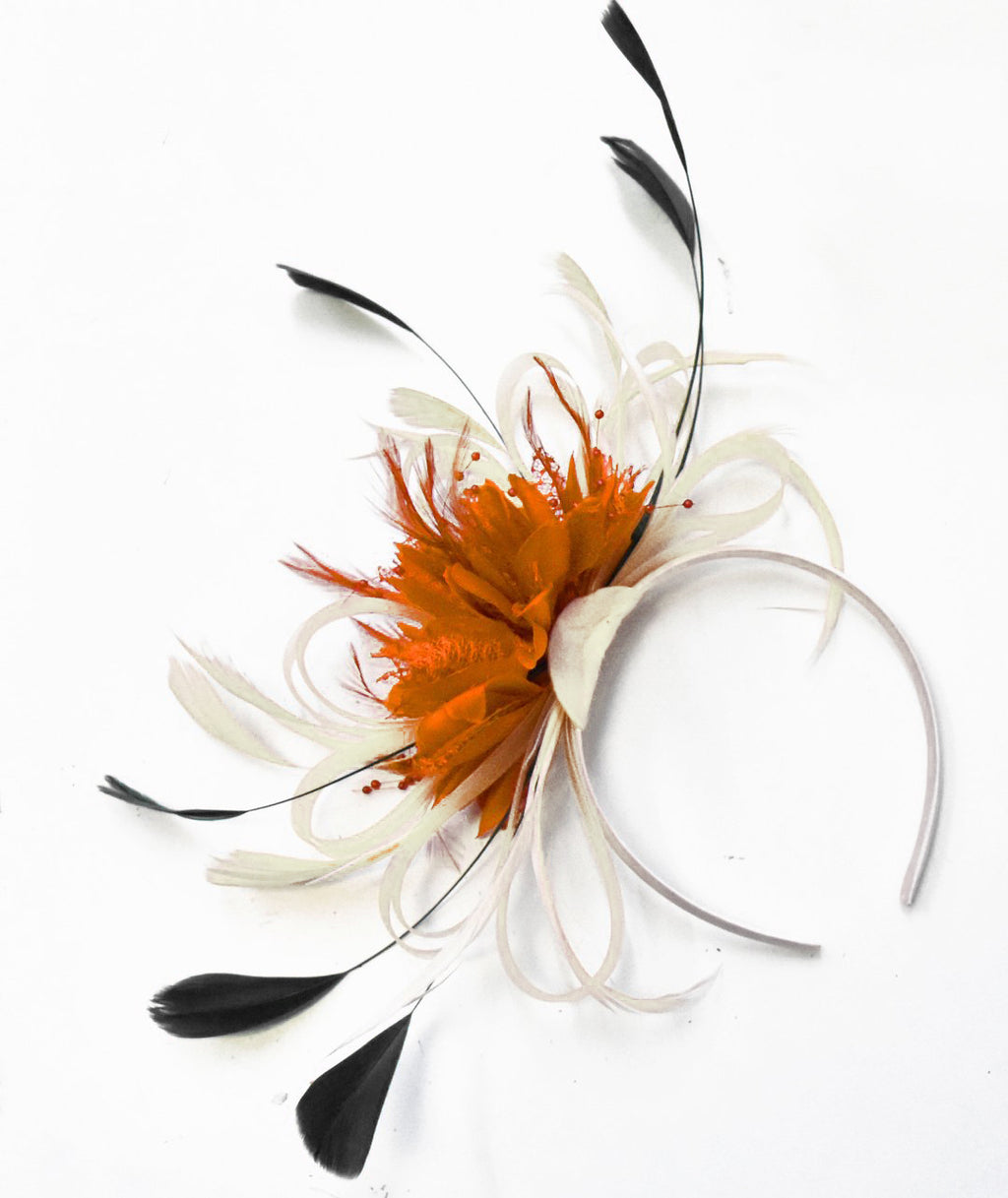 Caprilite Hoopmix Cream Ivory Orange and Black Fascinator on Headband