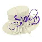 Cream Ivory and Dark Purple Large Brim Queen Hat Occasion Hatinator Fascinator Weddings Formal