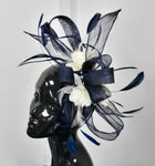 Large Navy and Cream Fascinator on Cream Ivory Headband