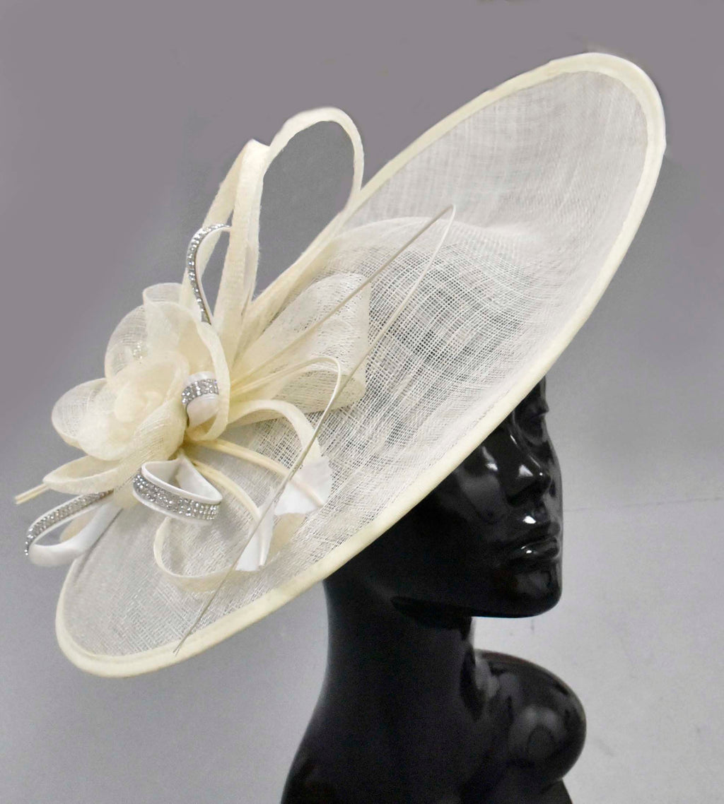 Cream Ivory Diamante 41cm Large SInamay Hatinator Disc Saucer Brim Hat Fascinator on Headband