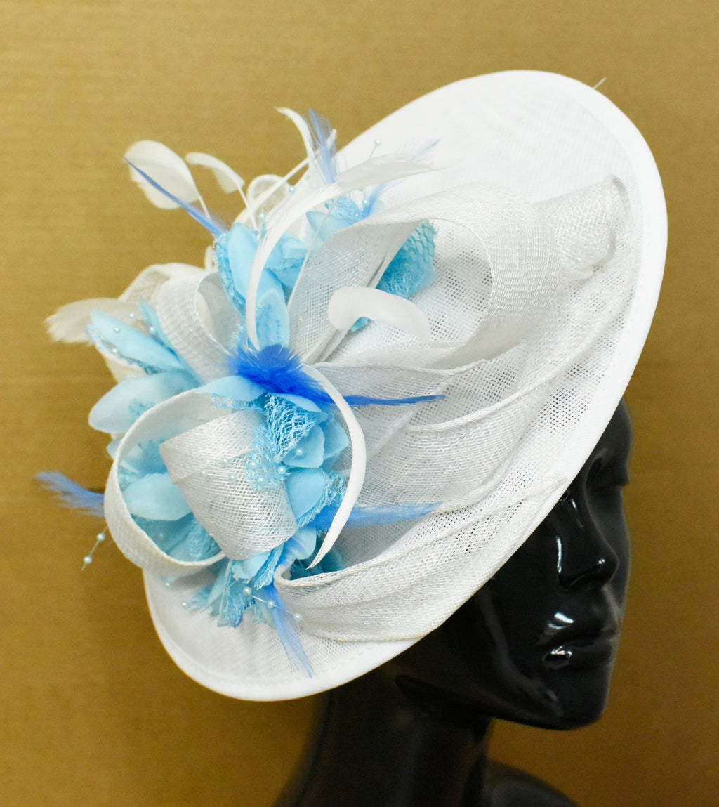 Caprilite Big Saucer Sinamay White & Light Blue Flowers Fascinator On Headband