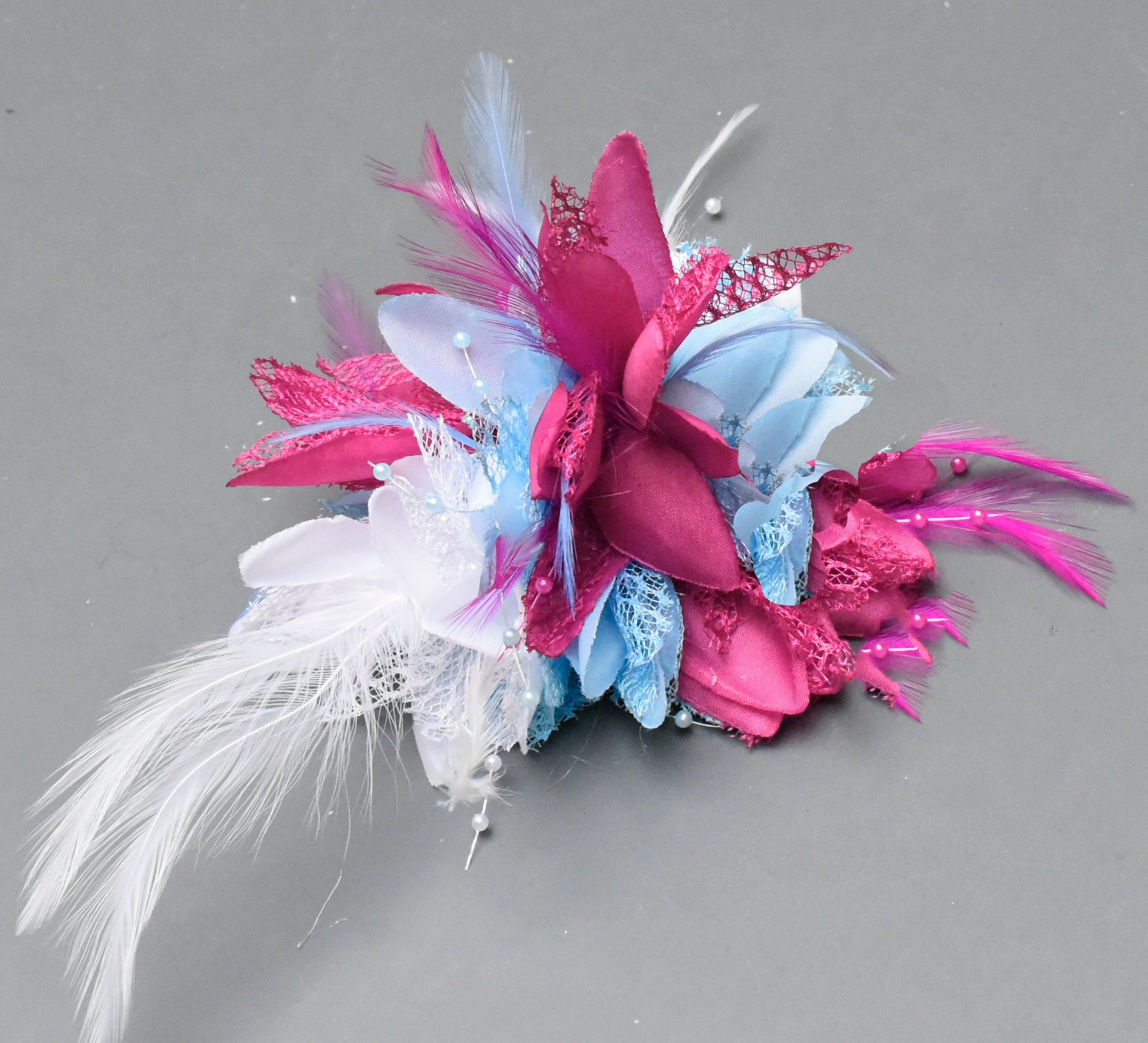 Light Blue Fuchsia and White Corsage