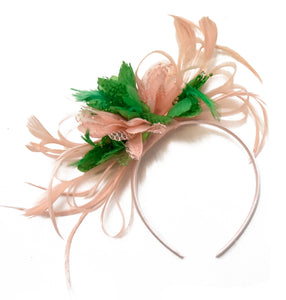 Caprilite Hoopmix - Nude Peach and Jade Green Fascinator on Headbandand