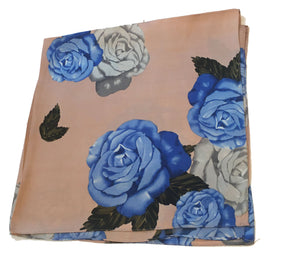 70cm x 70cm Square Scarf Dusty Pink Cornflower Blue Rose Pattern Print Thin Silky Womens
