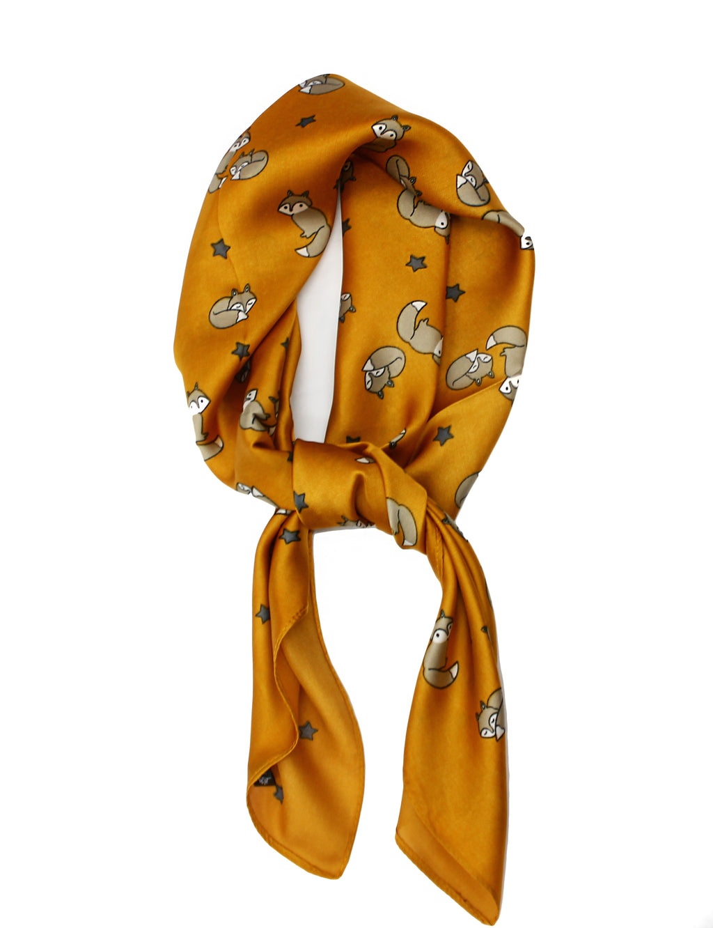 Mustard Yellow Foxes Scarf Thin Silky Womens Summer Spring