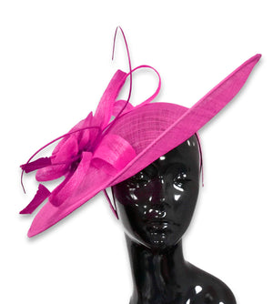 Fuchsia Hot Pink 41cm Large SInamay Hatinator Disc Saucer Brim Hat Fascinator on Headband