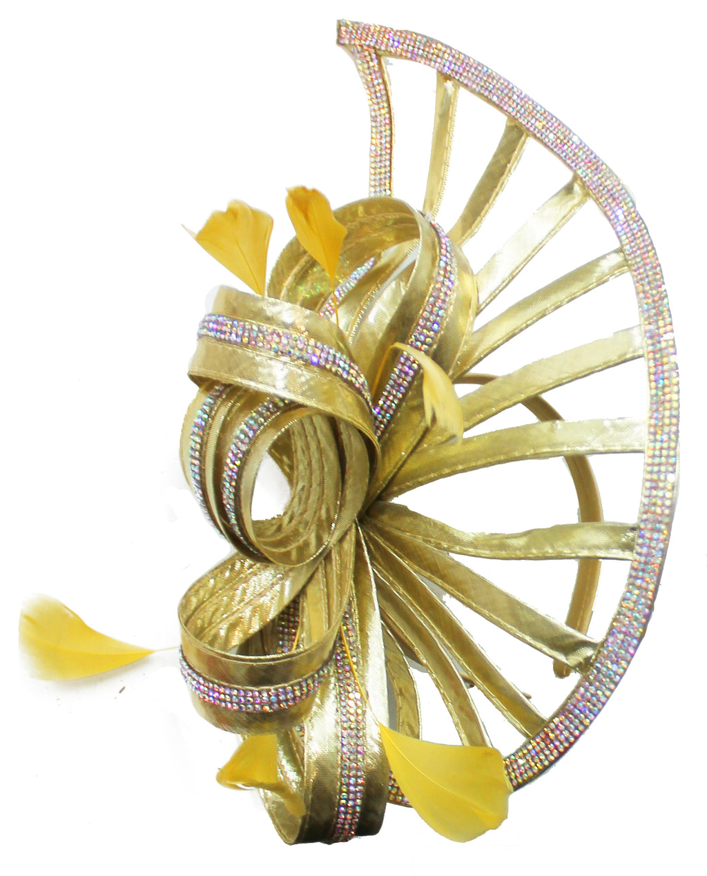 Gold Yellow Sparkly Silver Crystal Diamante Fascinator Hat Pointed Saucer on Headband