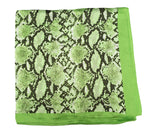 70cm x 70cm Square Scarf Green Neon Snake Print Pattern Scarf Thin Silky Womens Summer Spring