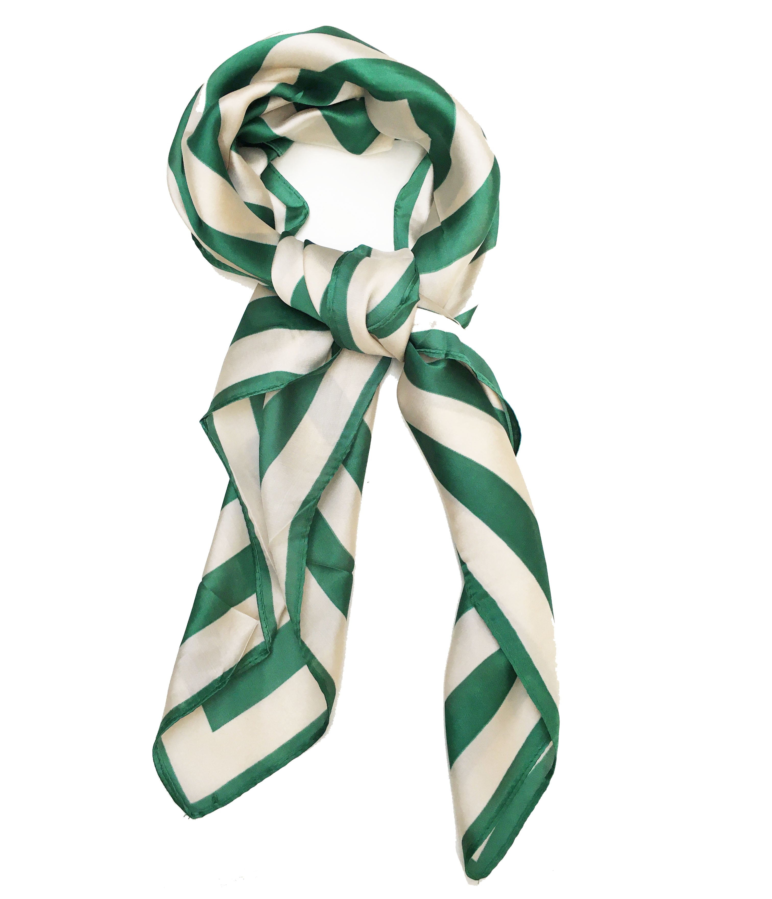 70cm x 70cm Square Scarf Green and White Stripes Scarf Thin Silky Womens Summer Spring