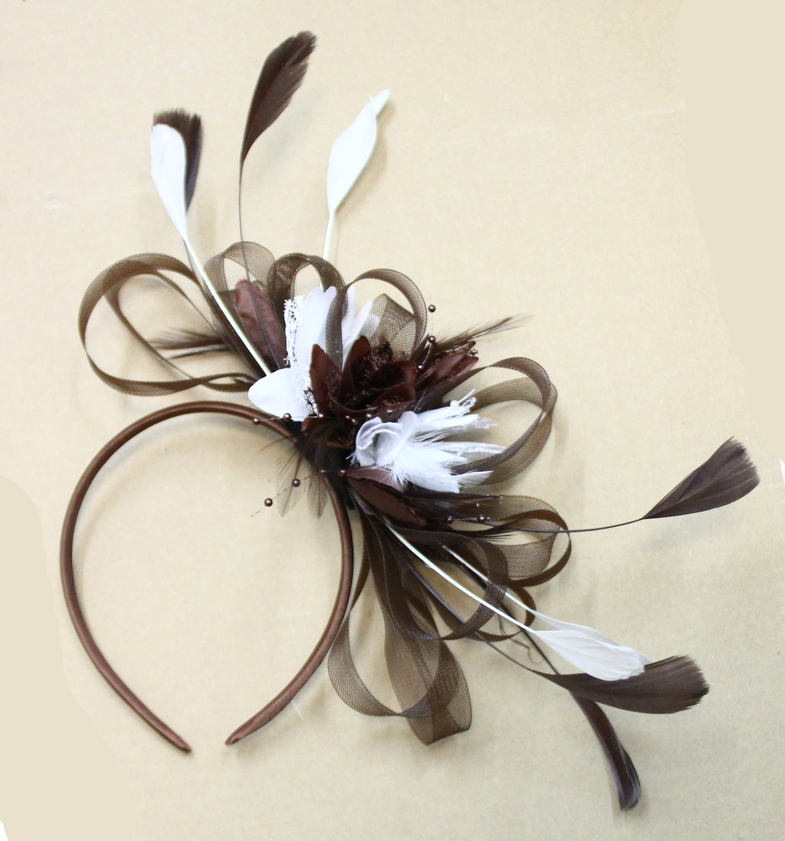 Caprilite Hoopmix Fascinator Brown and White