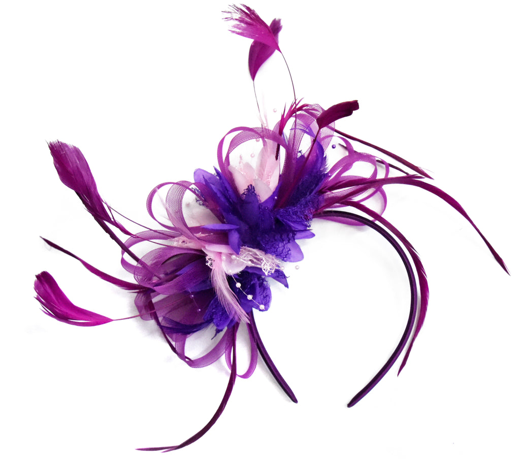 Hoopmix - Plum Cadbury and Baby Pink fascinator on Headband