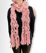 Baby Pink Thick Knitted Large Long Warm Winter Wrap Scarf For Women