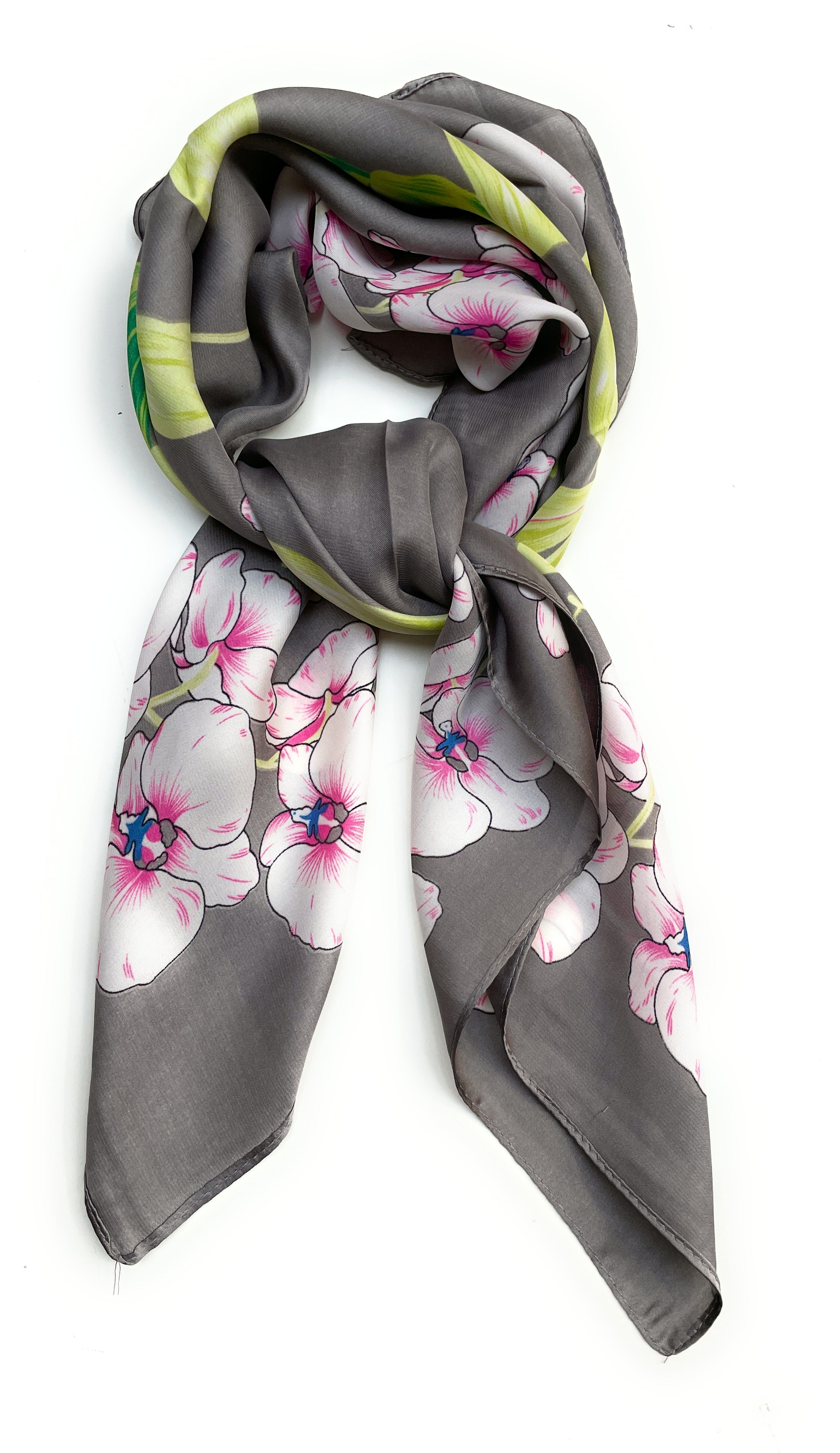 70cm x 70cm Square Scarf Grey Lime Orchid Flower Scarf Thin Faux Silk
