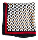70cm x 70cm Square Silk Scarf Black Red White Flowers Scarf Thin Womens