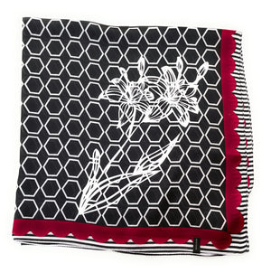 70cm x 70cm Square Silk Scarf Black Red White hexagon Scarf Thin Womens