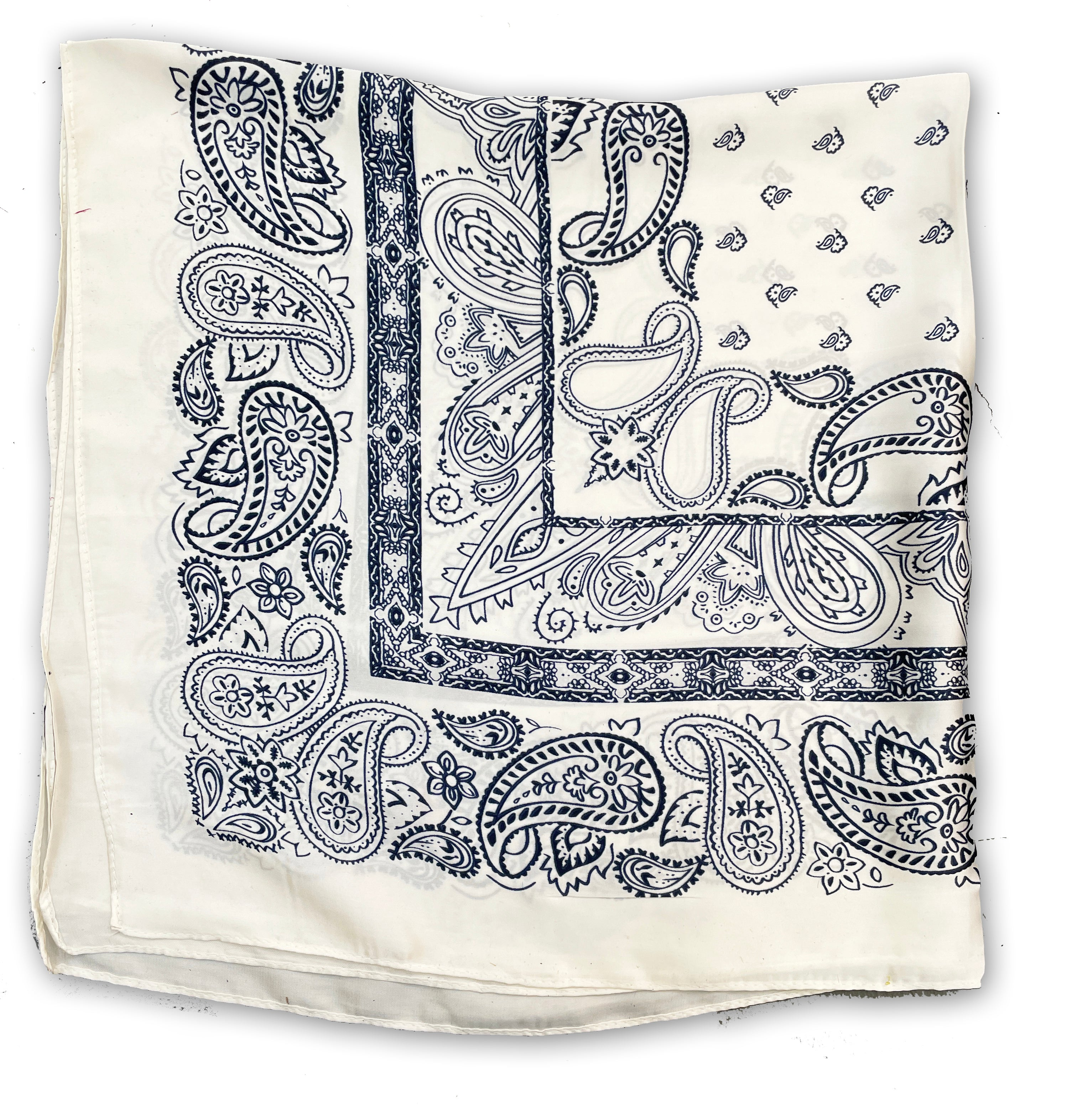 Copy of 70cm x 70cm Square Silk Scarf White Paisley Pattern Thin Faux for Women