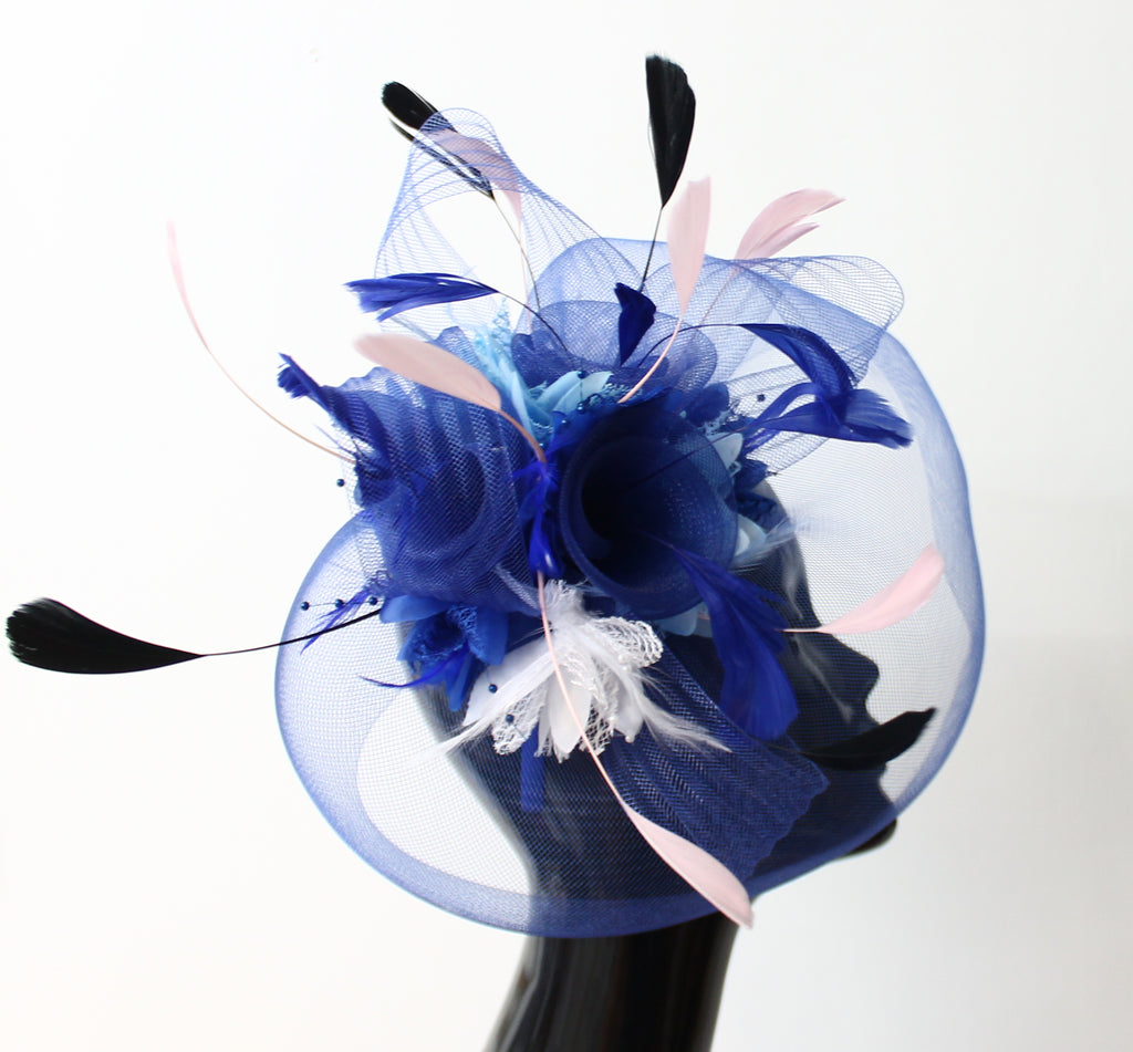 Royal Blue Dusty Pink White and Black Fascinator Veil
