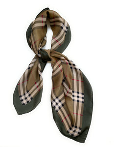 70cm x 70cm Square Scarf Brown Green Checked Print Pattern Scarf Thin Silky Womens Summer Spring