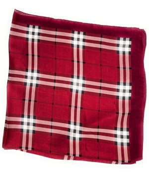 70cm x 70cm Square Scarf Red Checked Print Pattern Scarf Thin Silky Womens Summer Spring