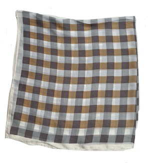 70cm x 70cm Square Scarf Beige Brown Checkered Print Pattern Scarf Thin Silky Womens Summer Spring