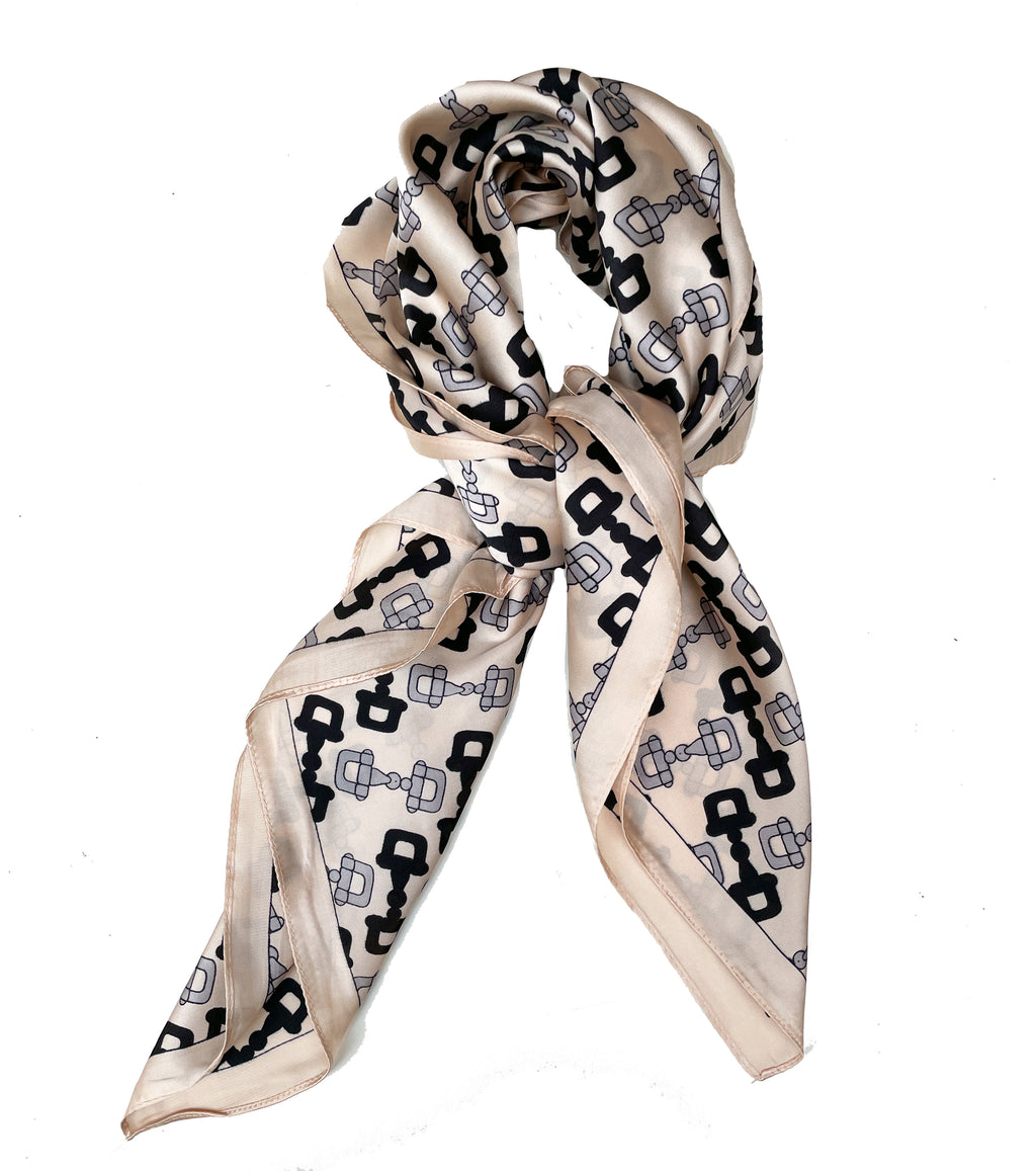 70cm x 70cm Square Scarf Cream Black monogram Scarf Thin Silky Womens Summer Spring