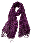 Dark Purple and Black Stripes Scarf with Tassels Lightweight